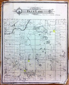 Blue Lake Township Vintage Map